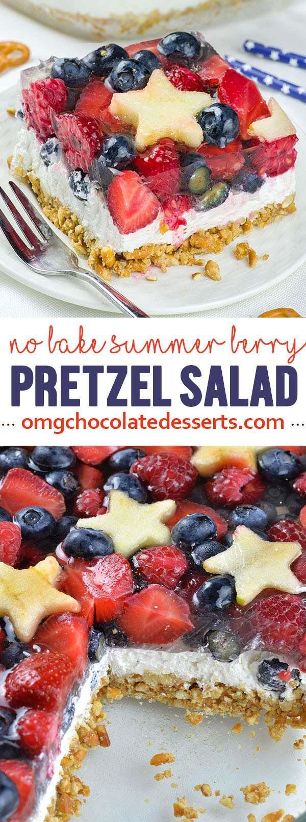 No Bake Summer Berry Pretzel Salad is quick and easy dessert recipe for delicious summer treat. Red, white and blue dessert is definitely fun and festive idea for 4th of July party.