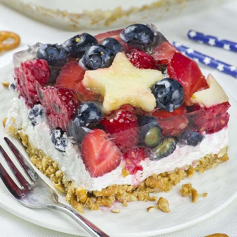 No Bake Summer Berry Pretzel Salad