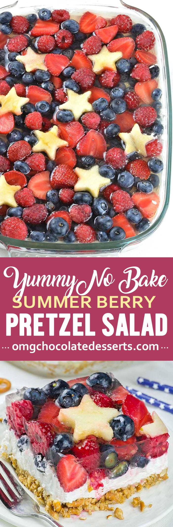 Crunchy pretzels and a creamy filling are topped with piles of strawberries and blueberries making this Berry Pretzel Salad Dessert our favorite dessert for summer!