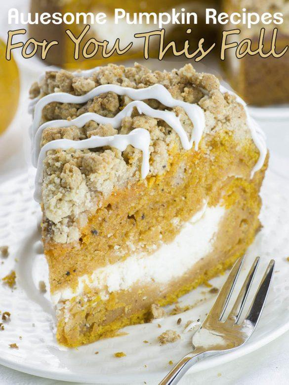 Slice of Pumpkin Coffee Cake on a plate. Awesome Pumpkin Recipes For You This Fall