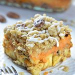 Piece of pumpkin pie cinnamon roll casserole