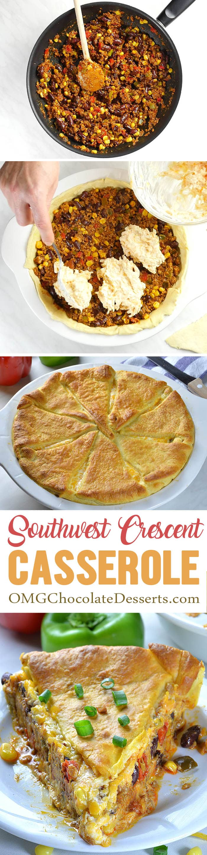 Southwest Crescent Casserole is meal-in-one. It has meat and veggies, and that's all packed in one delicious dish.