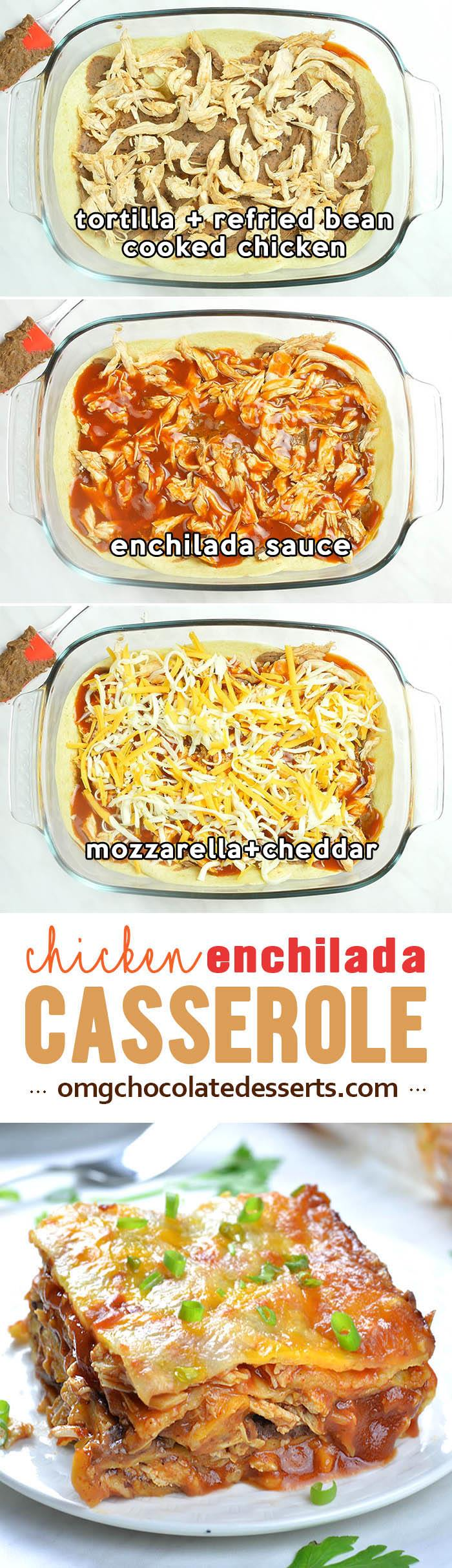 Cheesy Chicken Enchilada Casserole is quick and EASY WEEKNIGHT DINNER for whole family. It's simple, comfort food recipe with only 5 ingredients.