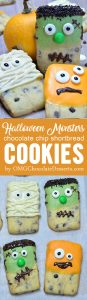 Shortbread cookie mummies, Frankenstein and monsters are simple, fun and easy Halloween idea for kids, too. It's perfect Halloween party dessert.