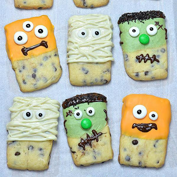 Halloween Monsters Shortbread Cookies