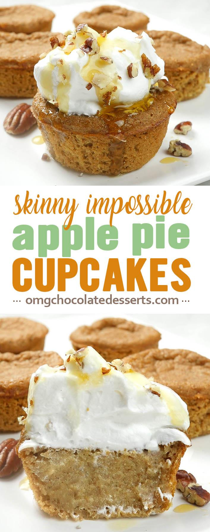 Skinny Impossible Apple Pie Cupcakes is HEALTHY and EASY dessert RECIPE for fall baking season. It's great dessert idea for Halloween party and Thanksgiving dinner table, too.
