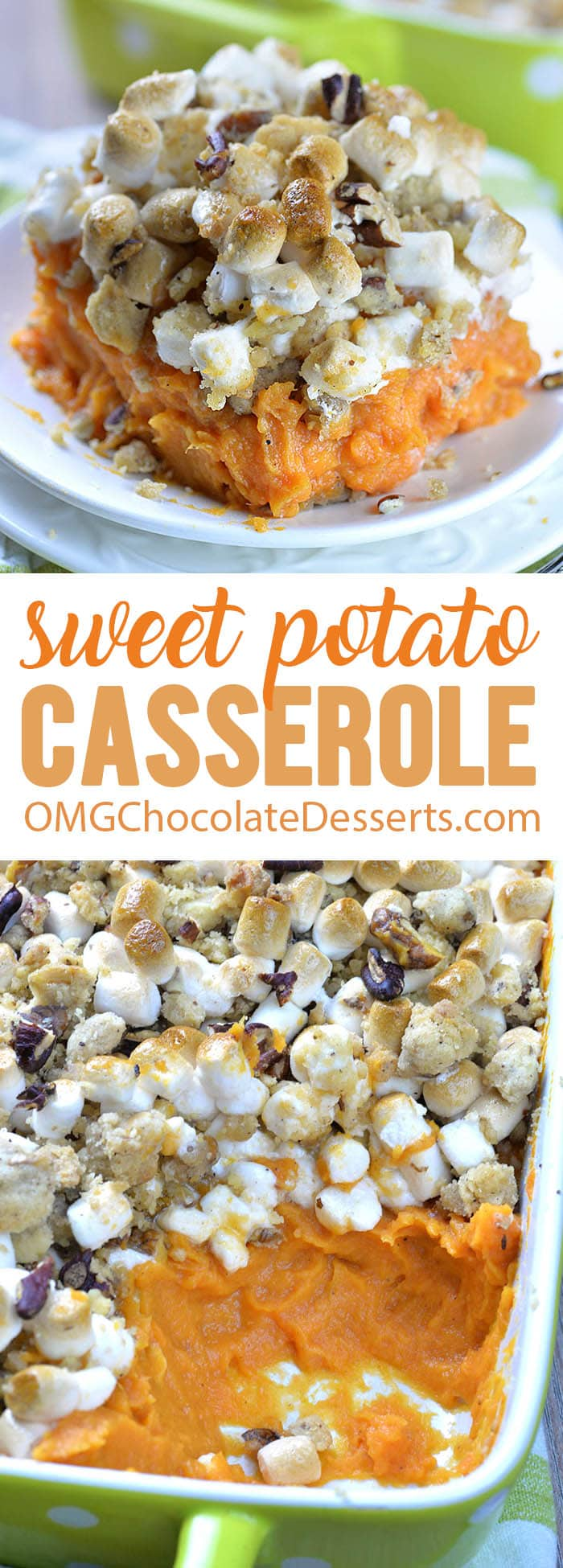 Delicious sweet potato casserole should be on your dinner table for holiday. This easy recipe with mashed sweet potato, marshmallows and brown sugar pecan streusel makes yummy side dish for Thanksgiving dinner.