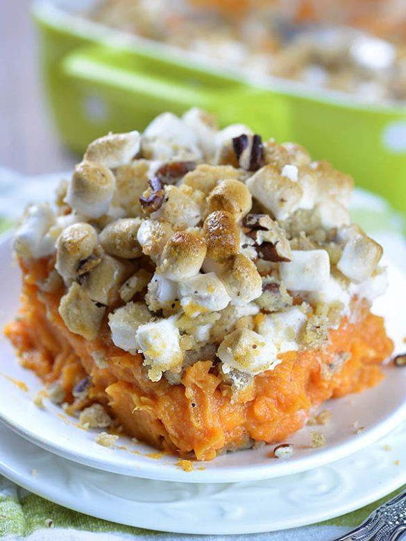 Sweet Potato Casserole in a plate.