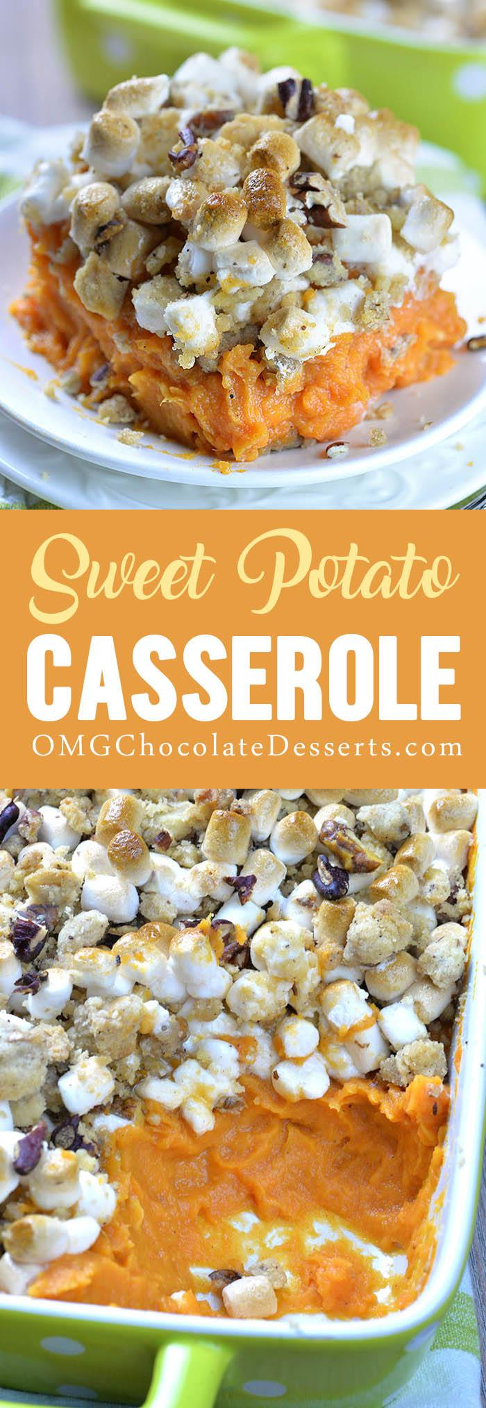 Sweet Potato Casserole Recipe with marshmallows and pecan streusel topping is family favorite Thanksgiving side dish.