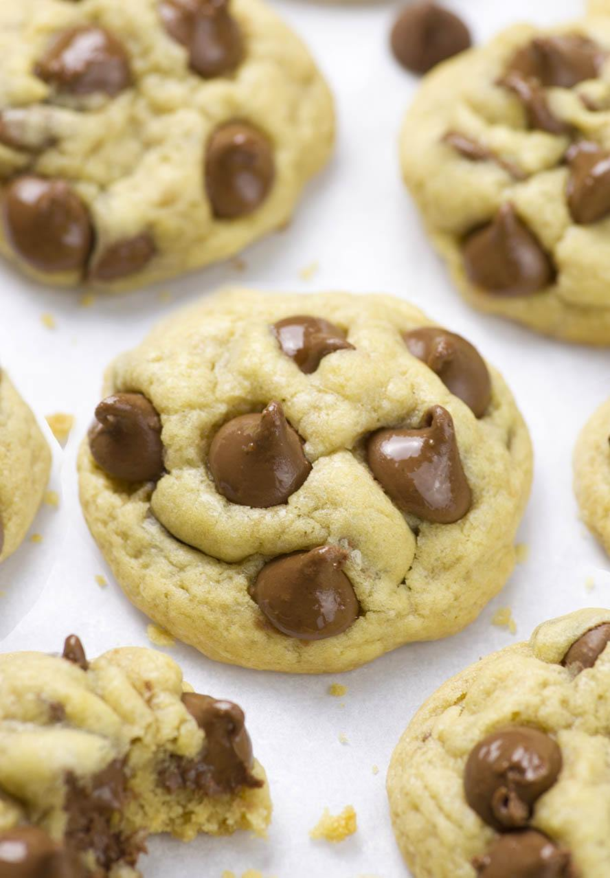 Soft and chewy, loaded with chocolate chips, Soft Chocolate Chip Cookies recipe with corn starch as a secret ingredient is simply perfect.