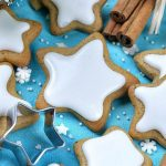Star gingerbread cookies with white frosting
