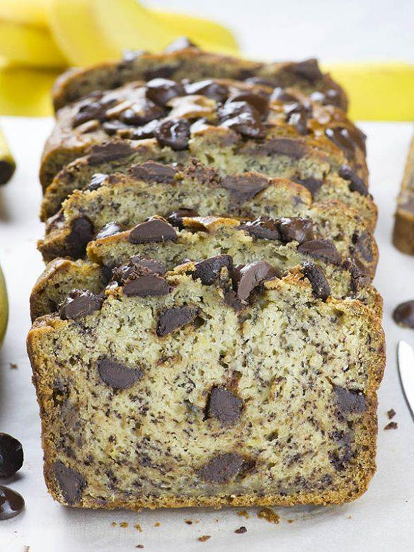 Sliced loaf of Chocolate Chip Banana Bread.