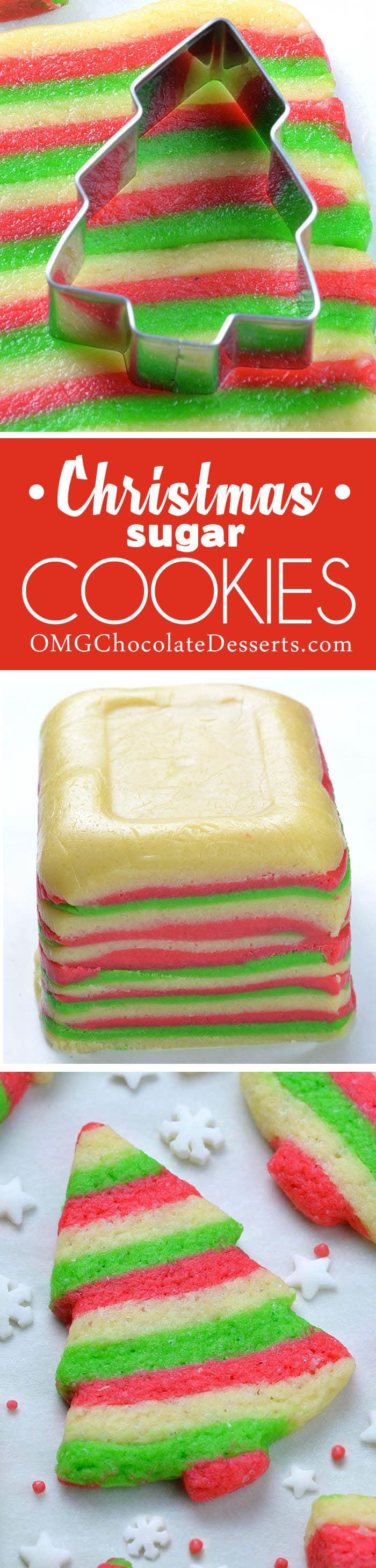 Christmas Sugar Cookies are classic dessert. But, these cute, red, white and green  striped Christmas tree cookies will make your holiday season merry and bright!!!