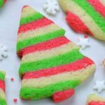 Tray of red, white and green striped Christmas sugar cookies