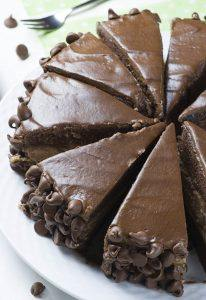Whole Hershey Cheesecake Chocolate Cake sliced.