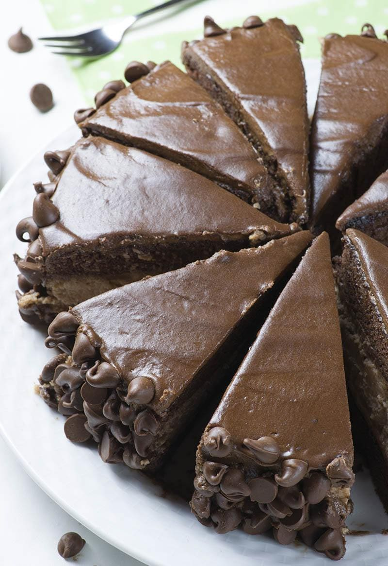 Sliced Hershey Cheesecake Chocolate Cake