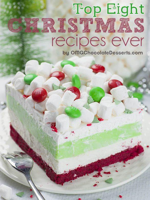 Layered Christmas dessert in white, green and red color.