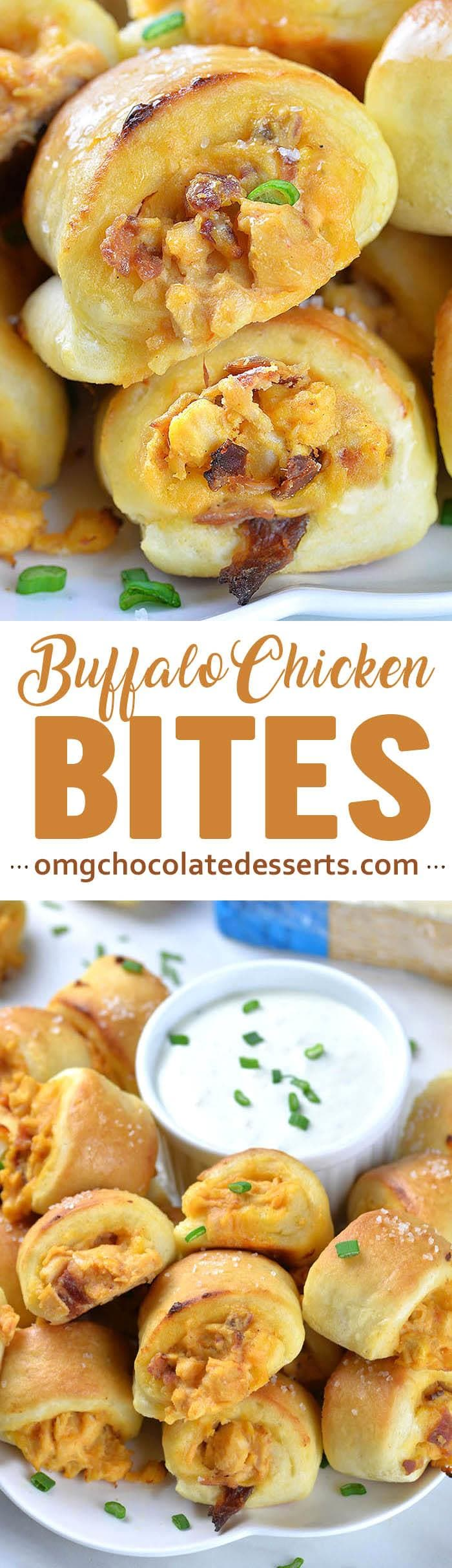 Buffalo Chicken Bites are delicious football snack for all buffalo chicken lovers, especially for those who prefer to enjoy the spicy Buffalo Chicken Wings along with the Blue Cheese Dip.