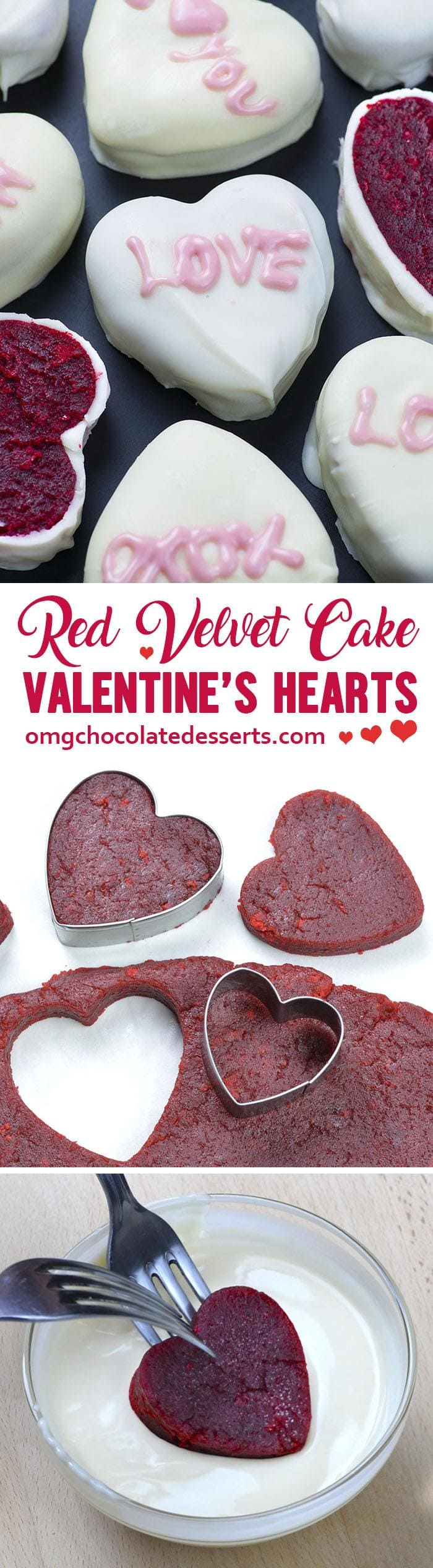 Red Velvet Cake Valentine's Hearts - fun and festive, bite sized treat for Valentine's Day!!! Classic Red Velvet Cake with Cream Cheese Frosting just got a holiday makeover!