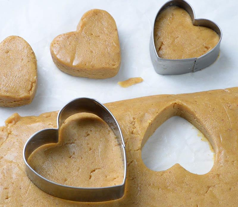Peanut butter dought and heart shaped cookie cutter.