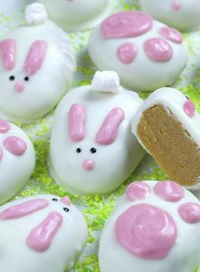 Bunch of Easter bunnies treats on green coconut