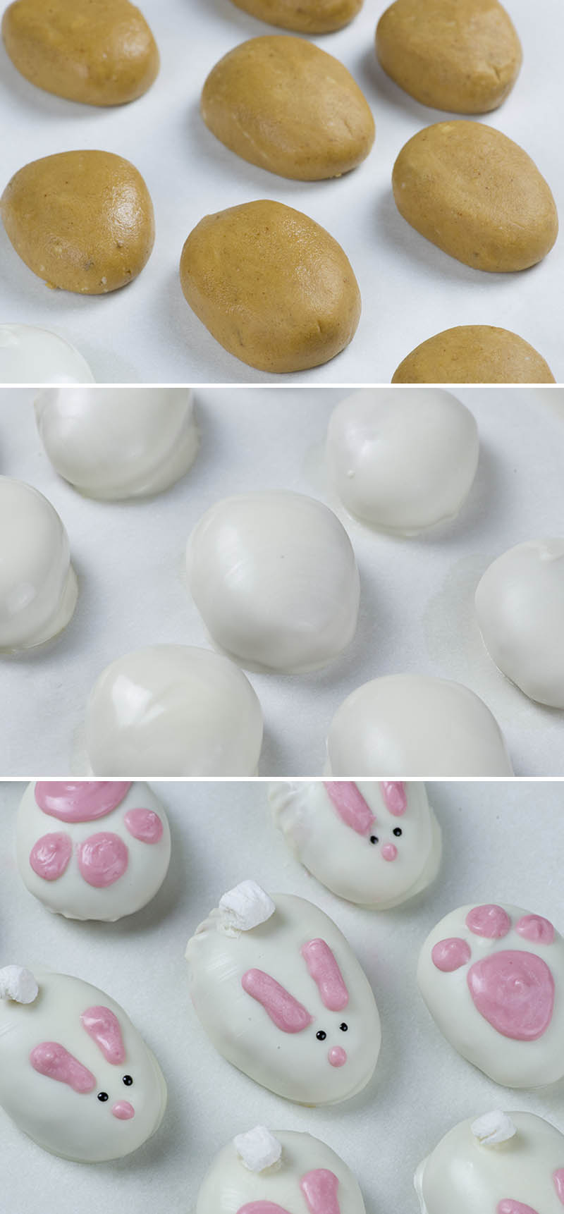 Tree steps image - peanut butter balls, whitechocolate dipped balls and finished Easter bunnies.