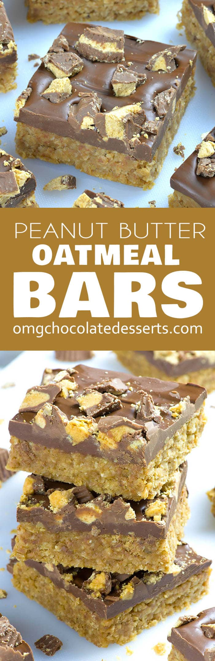 Whether you need a dessert or snack, no bake Reese's Peanut Butter Oatmeal Bars recipe will satisfy your taste buds!  Peanut butter oatmeal bars with chocolate frosting and pieces of Reese's cups on top, are sure to please.