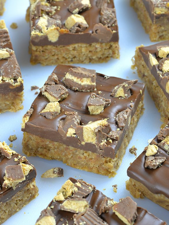 Reese's Peanut Butter Oatmeal Bars (featured)