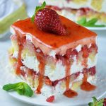 Plate of strawberry icebox shortcake