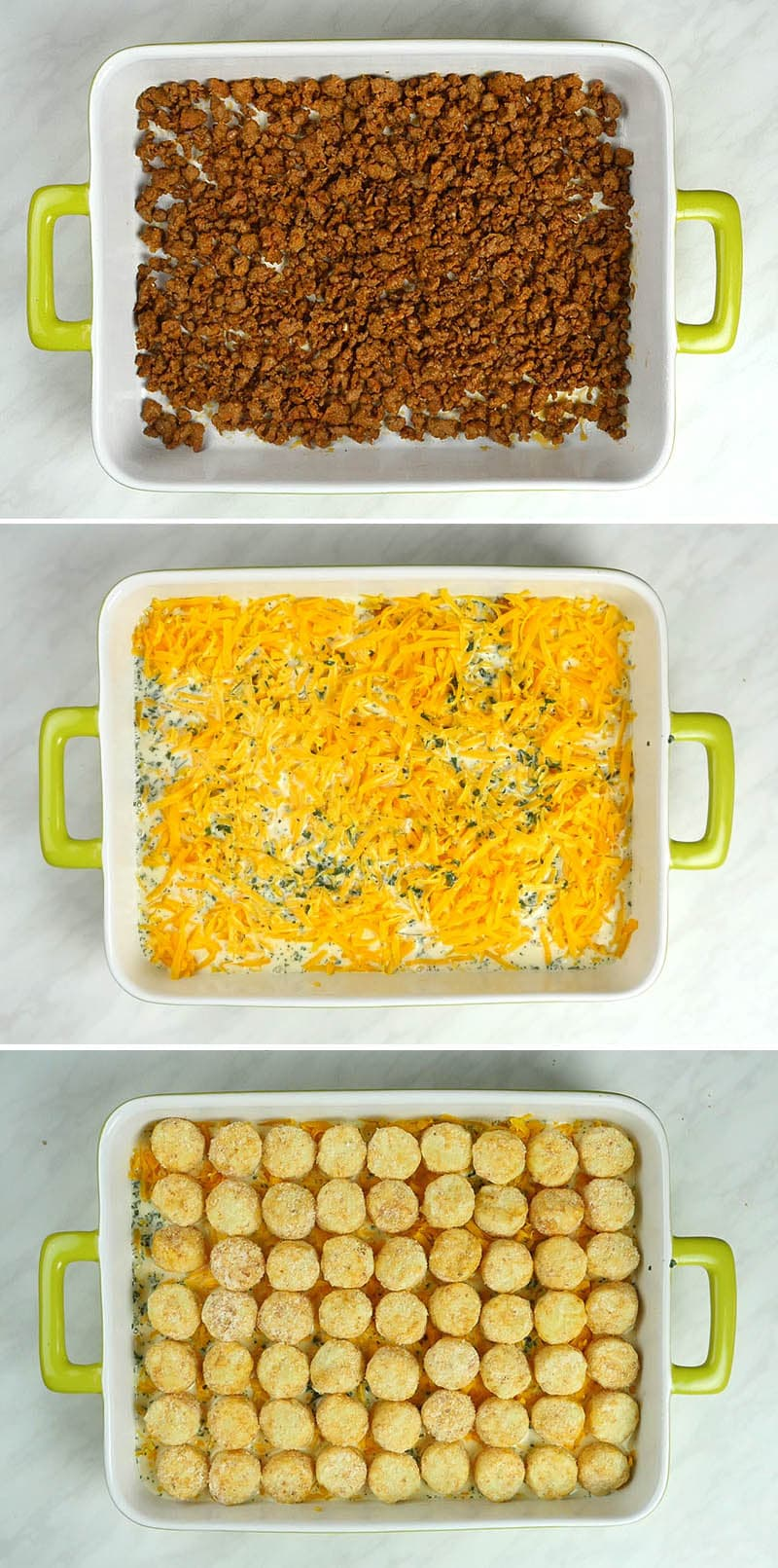 Three steps of preparing Tater Tot casserole!