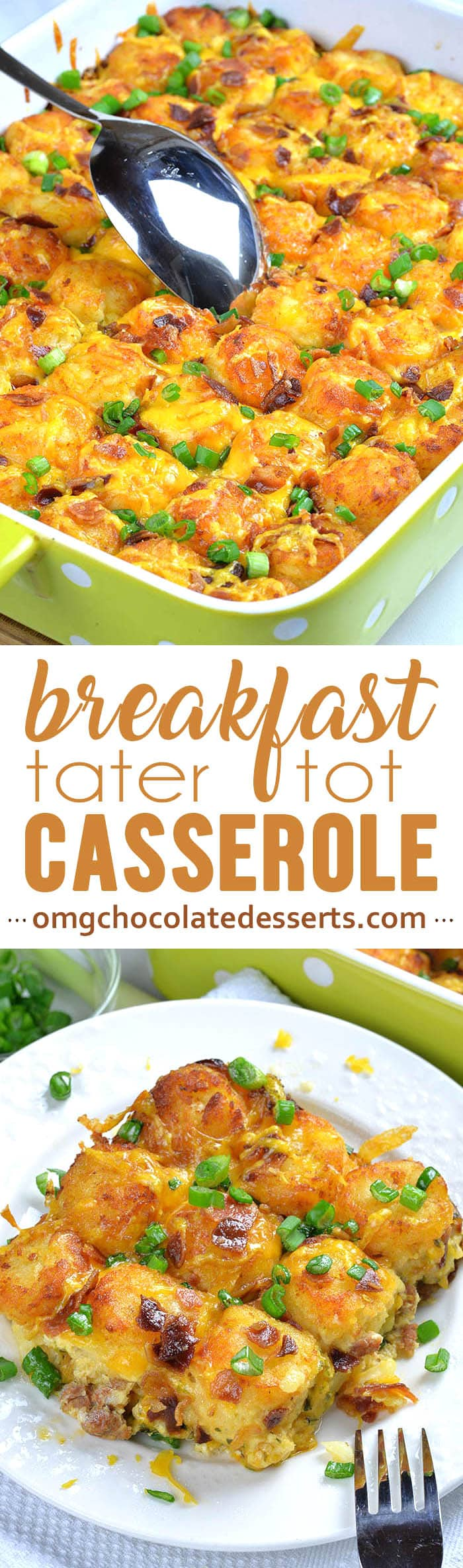Tater Tot Breakfast Casserole recipe with sausage, bacon and eggs is easy, make ahead breakfast, brunch or weeknight dinner meal for whole family.