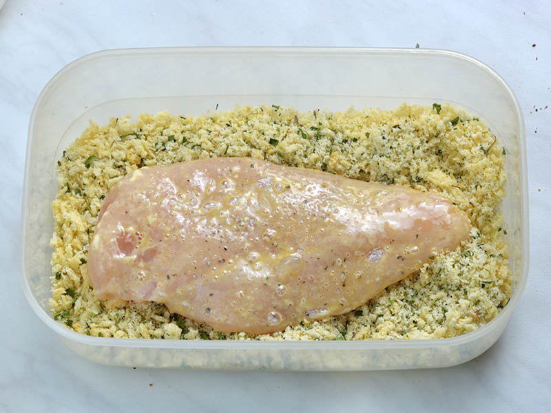Finally, chicken dipped in bread crumbs to coat well and transfer to a baking sheet.