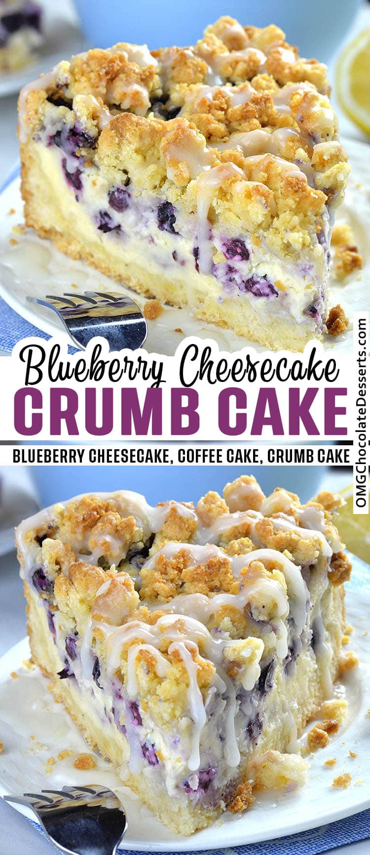 Two different images of  Blueberry Cheesecake Crumb Cake.