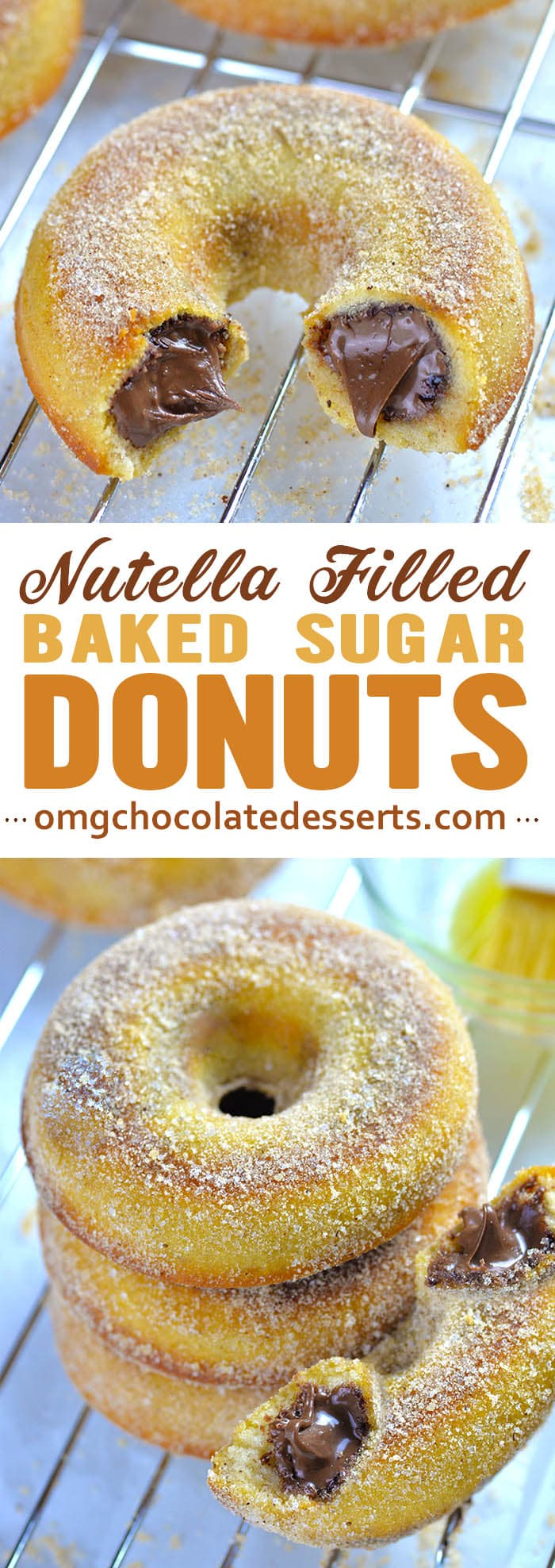Homemade baked donuts overloaded with gooey Nutella filling and crunchy cinnamon-sugar coating are mind blowing treat for all donut lovers.
