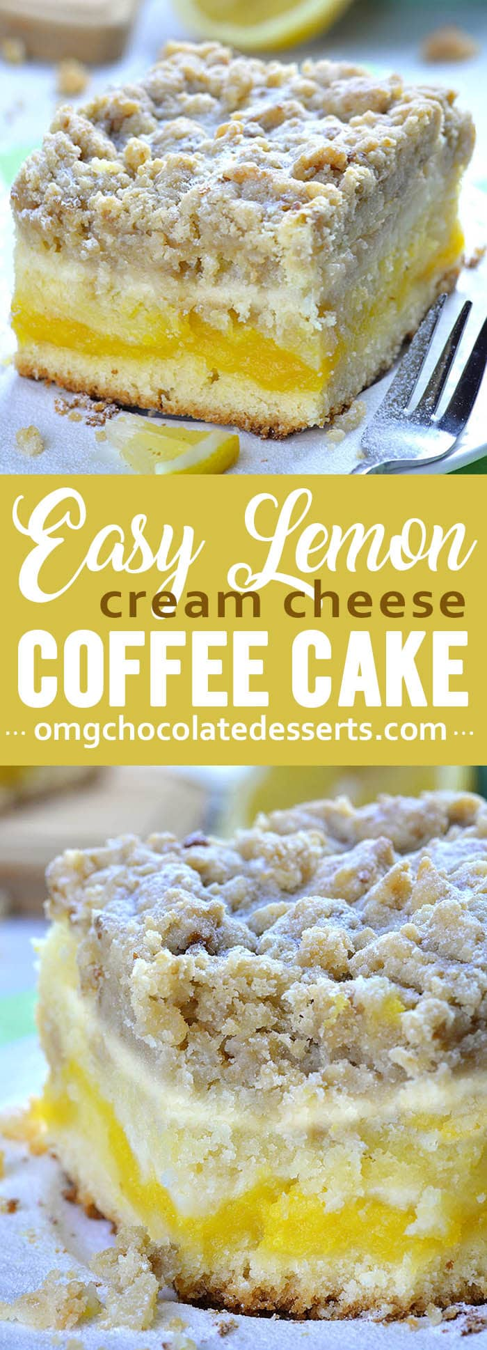 Lemon Coffee Cake tender and fluffy cake is super moist. It has a tart lemon curd layer in the center, cheesecake layer on top and irresistible, crunchy and buttery crumb topping!