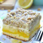 Piece of lemon coffee cake on a plate