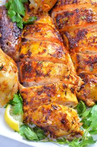 Peace of chicken breast from Whole chicken cooked in a slow cooker.
