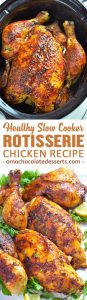Slow Cooker Rotisserie Chicken recipe is easy and healthy way to make homemade rotisserie style chicken!