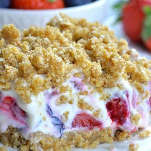 Plate of summer berry no bake cheesecake