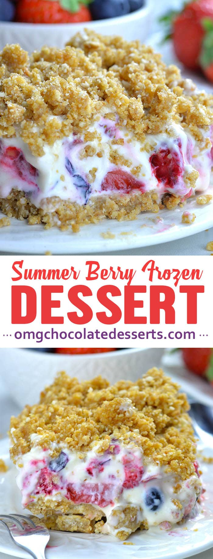 Summer Berry Frozen Dessert is easy no bake recipe for refreshing summer treat. It's delicious, creamy, no bake cheesecake with mix of fresh summer berries, graham cracker crust and crunchy crumb topping.