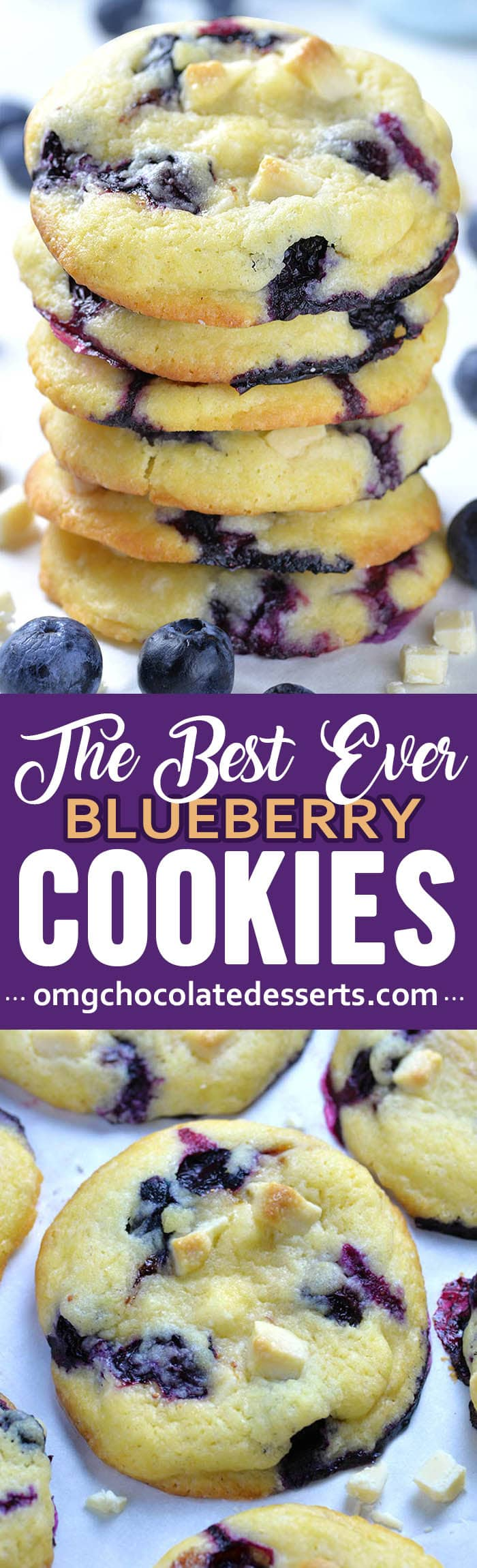 These easy blueberry cookies are also the best: light as air with crispy exteriors and soft, cream cheese and fruit-filled middles. Fruity, soft, and chewy cookie studded with creamy white chocolate chips.