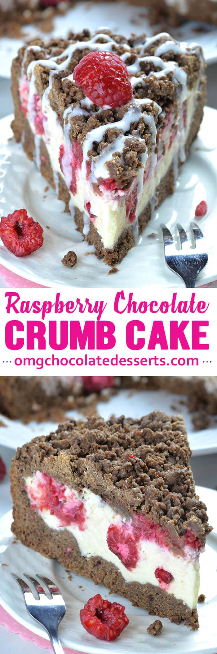 Chocolate Raspberry Cheesecake Crumb Cake is delicious dessert for chocolate lovers.