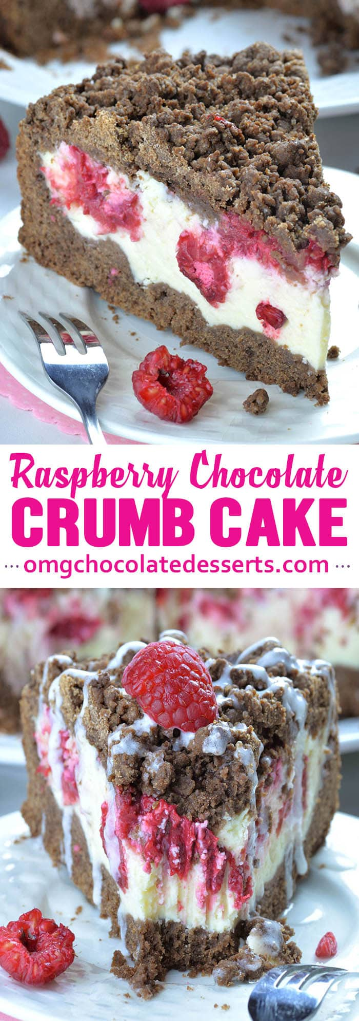 Chocolate Raspberry Crumb Cake with creamy cheesecake filling and raspberries is really rich and decadent coffee cake. If you don't want to start your day with so much sweets, then you should definitely have this for dessert or snack.