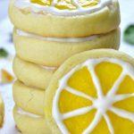 Stack of lemon shortbread cookies