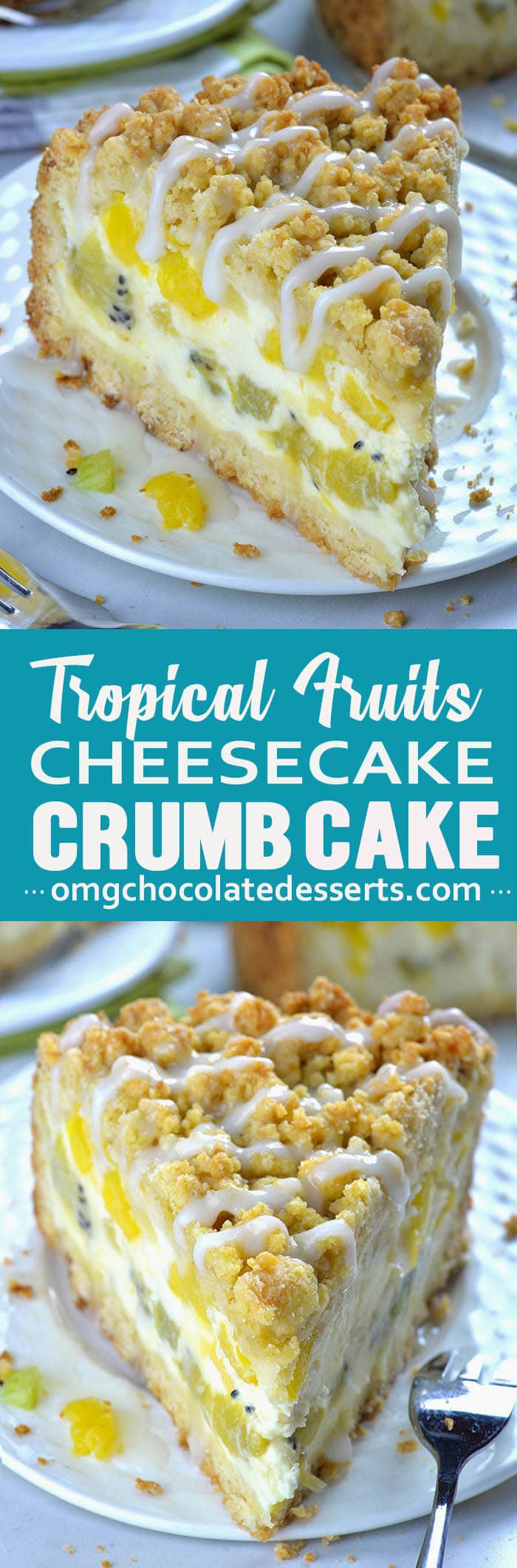 Tropical Fruits Cheesecake Crumb Cake with pineapple, kiwi and mango is delicious and refreshing summer dessert, perfect for summer party, picnic or potluck.