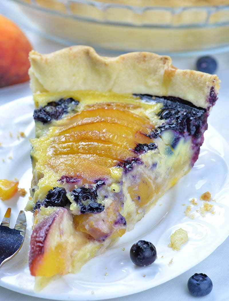 Impossible Peach Blueberry Pie, I used combo of vanilla custard, peaches and blueberries, but I added homemade pie crust as a base for delicious filling, too.