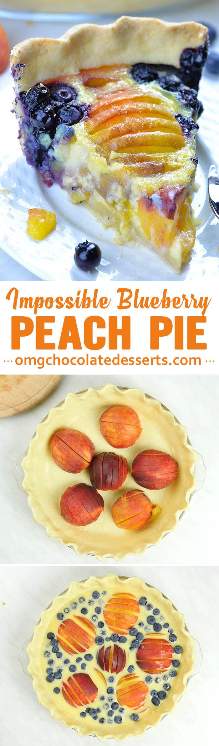Impossible Peach Blueberry Pie-homemade buttery pie crust filled with creamy vanilla custard, fresh blueberries and sweet and juicy peaches, topped with whipped cream is perfect summer treat.
