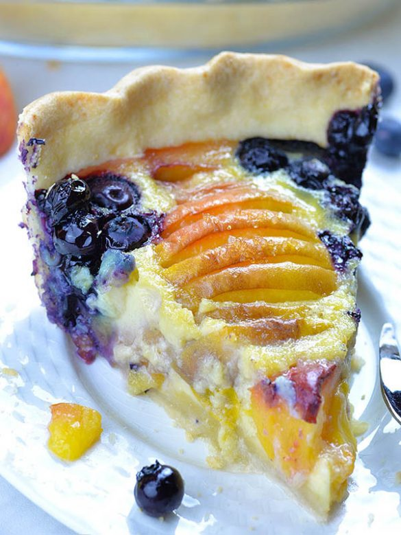 Impossible Peach Blueberry Pie-homemade buttery pie crust filled with creamy vanilla custard, fresh blueberries and sweet and juicy peaches.