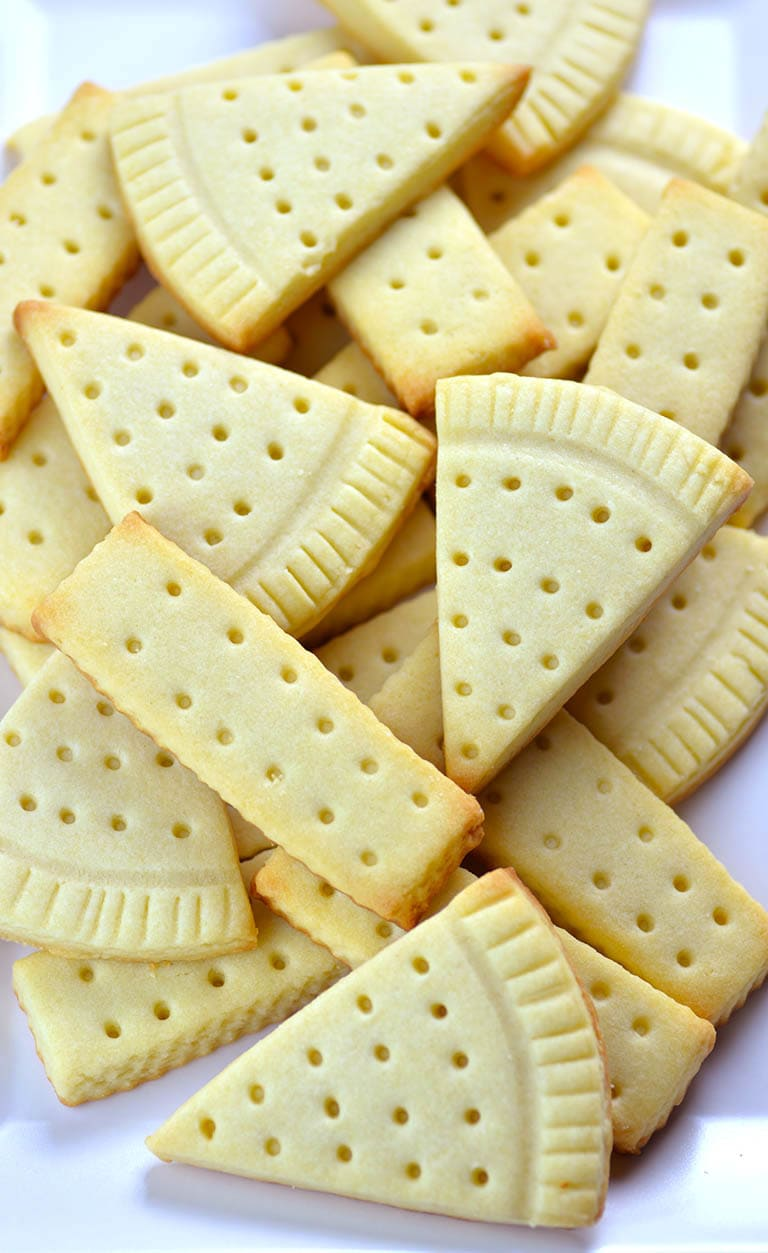 Bunch of Easy Shortbread Cookies laying on table.