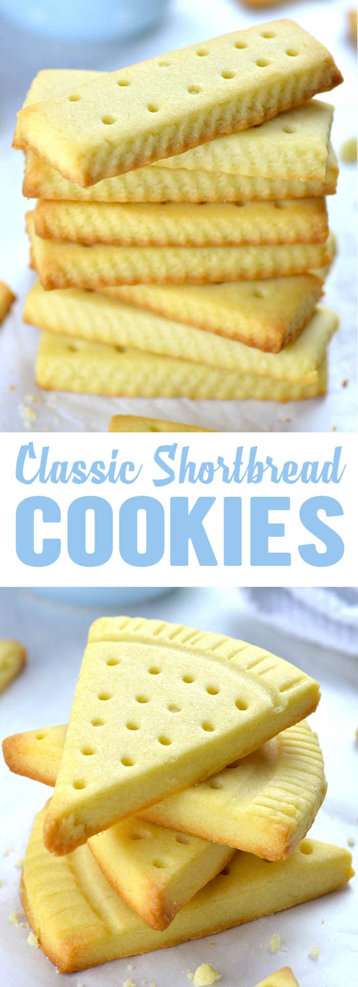 Classic shortbread cookies recipe uses only three ingredients: salted butter, powdered sugar and flour. If you add a hint of vanilla extract, you'll have the best shortbread cookies ever - Easy Shortbread Cookies
